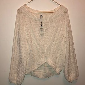 New white wide neck white knit sweater